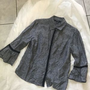 Style&Co Linen Bell Sleeves Jacket Shirt 12 Petite